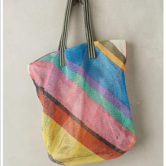 aa0e3c58704 Anthropologie Bags | Rainbow Striped Beach Tote Bag | Poshmark